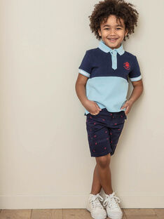 Bermudas azul-marinho bordados vermelhos criança menino ZIMIAGE / 21E3PGT1BERC214