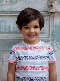 T-shirt às riscas azul-celeste criança menino ZIZAGE / 21E3PGT1TMC000
