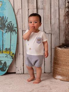 Macacão bicolor ganga e cru bebé menino ZATAHO / 21E1BGU1CBL001