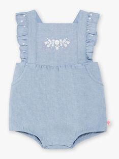 Macacão curto em ganga bordado bebé menina ZAPRISKA / 21E1BFT1BAR721
