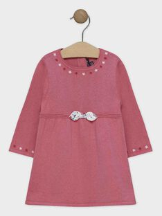 Vestido em tricô rosa bebé menina SANINI / 19H1BFE2ROB307
