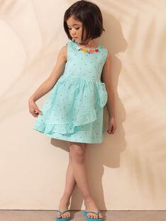Vestido azul-celeste estampado palmeiras menina TEUZIETTE / 20E2PFX1CHSC242