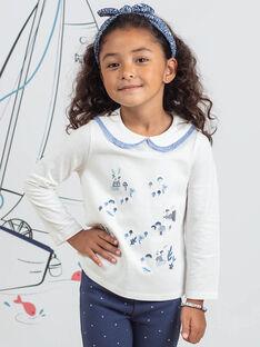 T-shirt cru com gola Peter Pan e padrão de coelhos menina BYCOLETTE / 21H2PFL1TML001