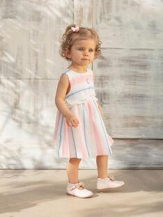 Vestido cru, rosa e azul às riscas e bloomer a condizer bebé menina ZAPHOEBE / 21E1BFT1ROB001