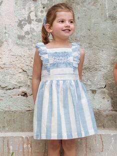 Vestido bordado às riscas brancas e azuis criança menina ZUROBETTE / 21E2PFT1ROB001